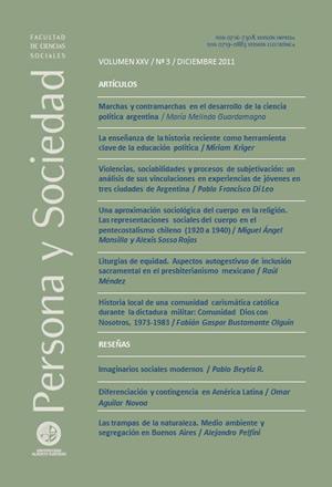 Persona y Sociedad Vol.25 n.3 Diciembre 2011